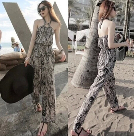 Free Shipping High Quality Hot Sale Korean Leisure Leopard Halter Neck Woman Chiffon Jumpsuit 6