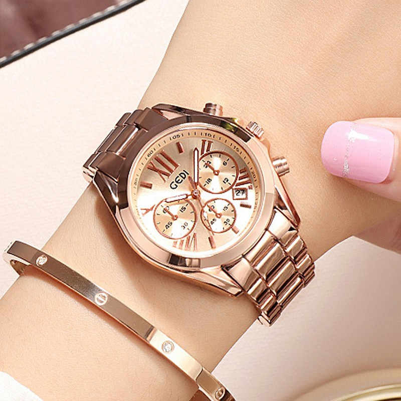2019 Super Bracelet Women Watches Women Rose Gold Stainless Steel Quartz Watch Ladies Waterproof Watch Clocks relojes para mujer
