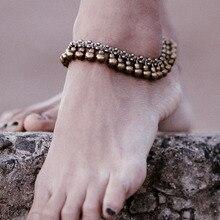 Винтажный латунный браслет на ногу, подвески, колокольчик, кисточка, босиком, для пляжа, ювелирное изделие, богемный браслет на ногу, Pulseira Masculina
