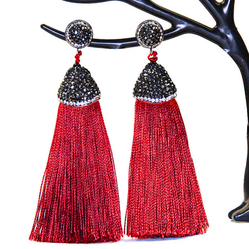 LAKONE 2018 boho Earrings Handmade Long Crystal Silk Tassel Earring For Women Wedding Da ...