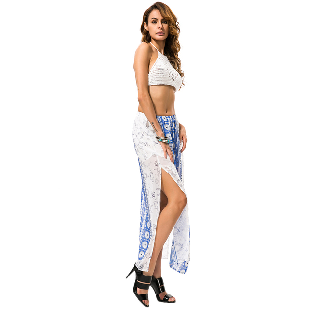 cb6fb13847b 2018 Boho Summer Style Fashion Long Skirts Women s Sexy Split Ends High  Waist Chiffon Skirt Faldas Mujer Black Blue Print Saia