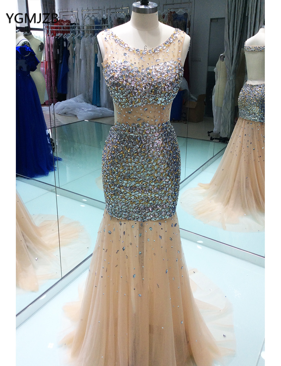 Luxury Backless Prom Dresses Mermaid 2018 Sheer Scoop Crystal Beaded Floor Length Gold Women Long Formal Evening Party Gowns