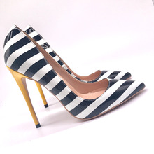 Free shipping fashion women Pumps zebra Stripe patent leather Pointy toe high heels shoes size33-43 12cm 10cm 8cm party shoes цена