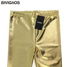 Fashion Gothic Punk Rock Style Gold Metallic Color Sexy Bright Sequin PU Faux Leather Leggings Pants Fitness For Women