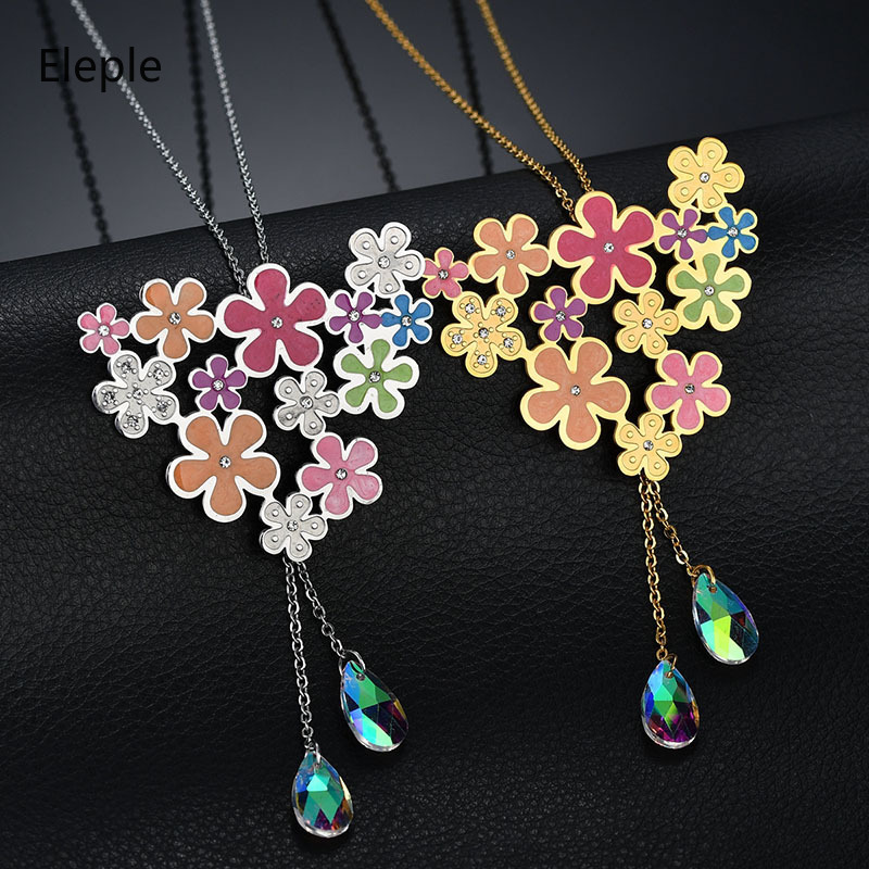 Eleple Girly Colorful Flower Tassel Stainless Steel Necklace Earnail Set Girls Crystal Sweet Fashion Jewelry Sets Factory S-S066