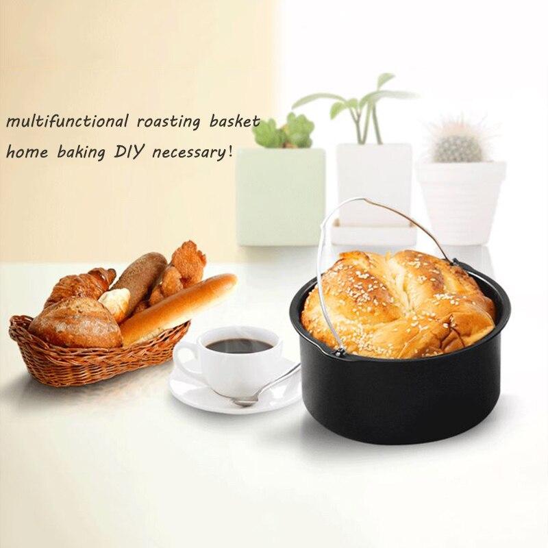 5 pièces accueil Air poêle accessoires ustensiles de cuisine ensembles acier inoxydable friteuse cuisson panier Pizza plaque Grill Pot Mat multi-usages - 2