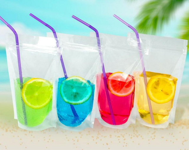 100pcs Clear Stand Up Beverage Drink Coffee Plastic Packaging Bag Resealable Zip Lock Grain