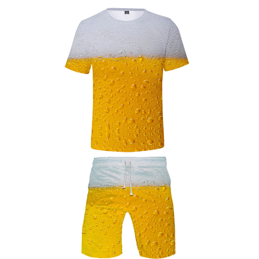 3D Oktoberfest Beer Day Cool Two Piece Set O-neck Tshirt +short Beach Pants Harajuku Men Summer Streetwear Harajuku Men's Set