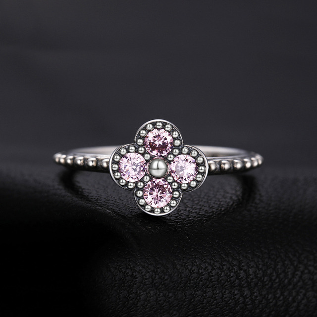Pink Murano Glass Sterling Silver Ring
