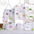 Atacado 5 pçs/set Moda Conjunto Completo Manga Primavera Cogumelo Menino da Roupa Do Bebê Recém-nascido de Algodão Impressão Menina Roupas Íntimas A-001