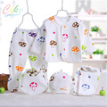 Wholesale 5pcs/set Fashion Cotton Newborn Baby Clothing Set Full Sleeve Spring Boy Mushroom Print Girl Underwear Clothes A-001