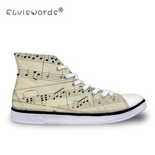 ELVISWORDS Music Tabs Printing Women Flats Casual Guitar High Top Flat Canvas Shoes Sneaker Teen Girls Lady Female Zapatos Mujer