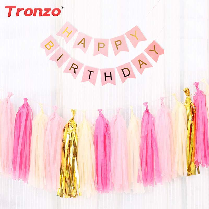 Tronzo 1set Happy Birthday Banner Tassel DIY Paper Pink Blue Bunting Baby Shower Birthday Party Decoration For kids Favor