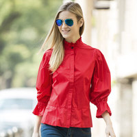 Veri Gude Women Blouse Long Flare Sleeve Ruffles Vintage Collar Loose Casual Solid Color Women S