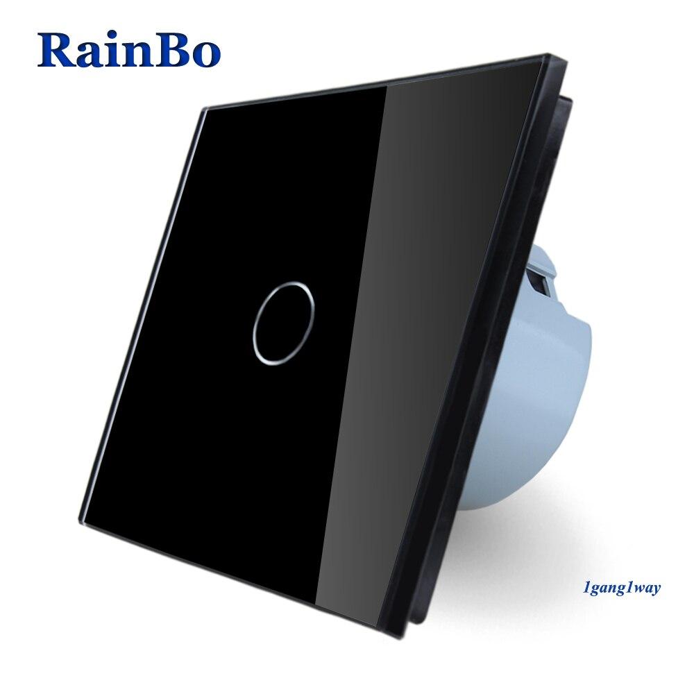 RainBo Brand Touch Switch Screen Crystal Glass Panel Switch EU Wall Switch AC110~250V Light Switch Black 1gang1way   A1911CBRainBo Brand Touch Switch Screen Crystal Glass Panel Switch EU Wall Switch AC110~250V Light Switch Black 1gang1way   A1911CB