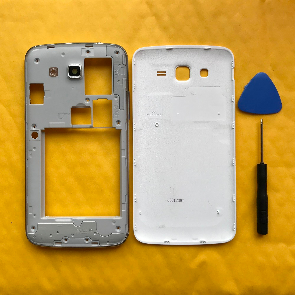 Original New Housing Middle Frame With Battery Cover Back Door For <font><b>Samsung</b></font> Galaxy <font><b>Grand</b></font> <font><b>2</b></font> Duos <font><b>G7102</b></font> G7106 Phone <font><b>Cases</b></font> image