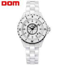 DOM mujeres estilo marca de lujo impermeable de los relojes de cuarzo de cerámica reloj de la enfermera T-598