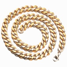 10mm 7-40 New Arrive Stainless Steel Silver Gold Cool Fashion Buckle Cuban Link Chain Mens Womens Jewelry  Necklace Or Bracelet