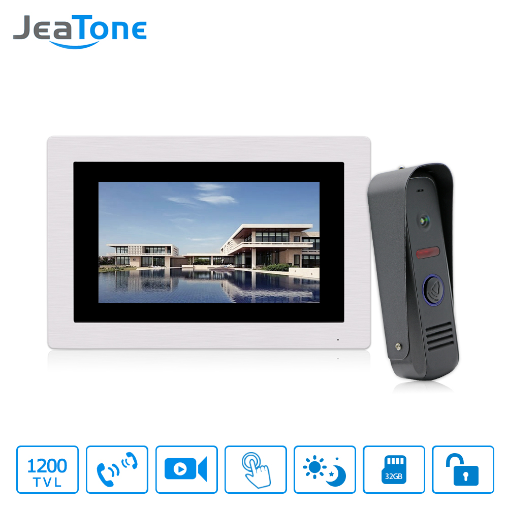 JeaTone 7 Touch Screen Video Door Phone Intercom Waterproof Doorbell 4-Wired Home Intercom System Unlocking Motion Detection jeatone 4 inch 4 wired door phone video intercom doorbell home security camera system waterproof motion detection on door panel