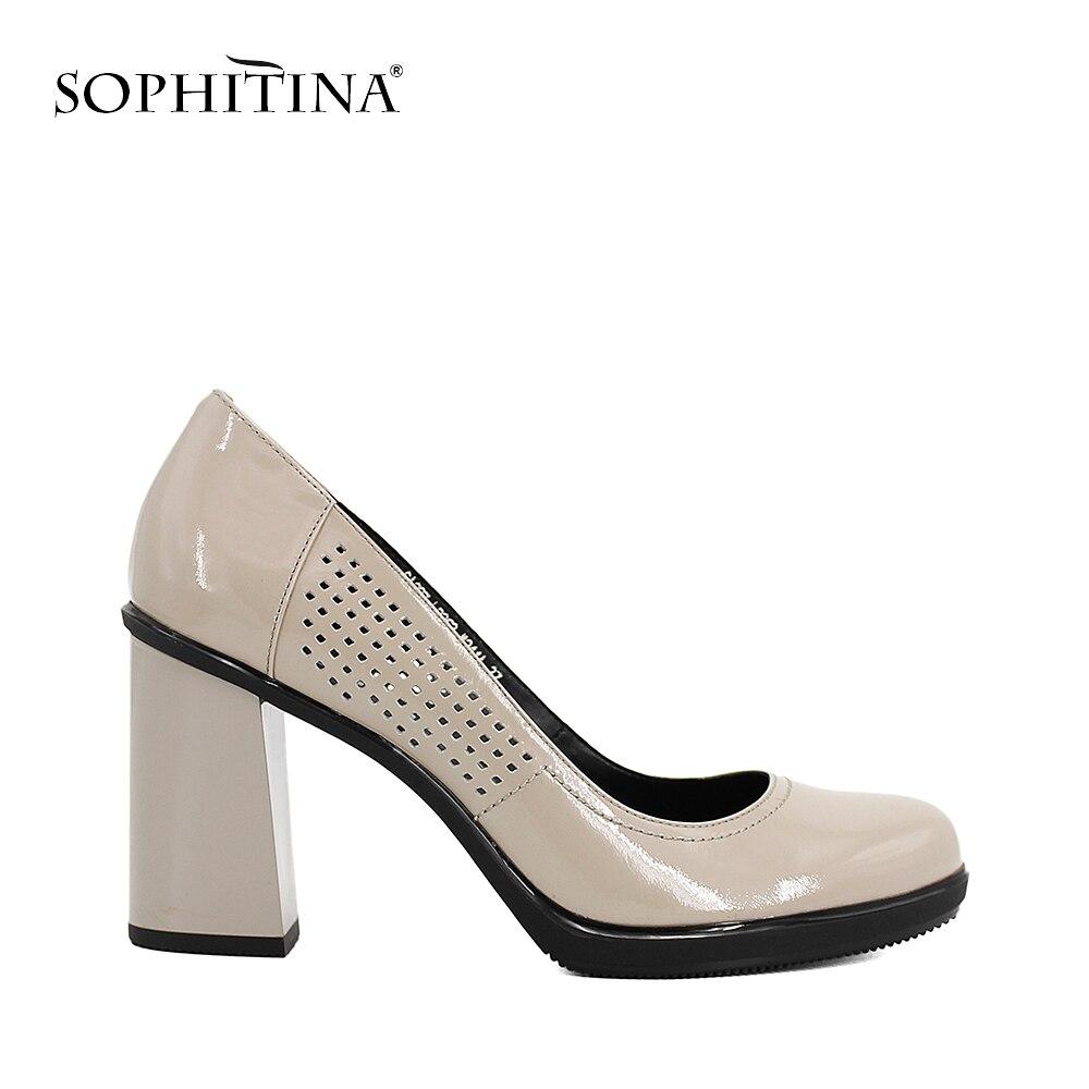 SOPHITINA Офисная женская обувь толстый каблук элегантный круглый носок с перфорациями лакированная кожа 9см высокий каблук высокое качество б...