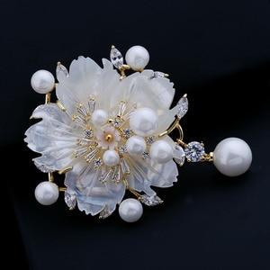 Image 4 - מדהים בציר לבן אמא של פרל פרח סיכות CZ המרקיזה עלה זהב טון פיסטיל שזיף פריחת סאקורה סיכות סיכת תכשיטים