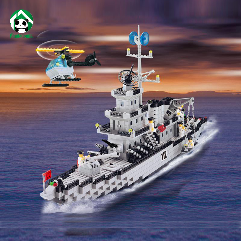 Enlighten Military Cruiser Warship Boat 970pcs Building Blocks Toy Bricks Kits Set 8 Army Man Figures War Weapon Model Toys Boys enlighten 1406 8 in 1 combat zones military army cars aircraft carrier weapon building blocks toys for children