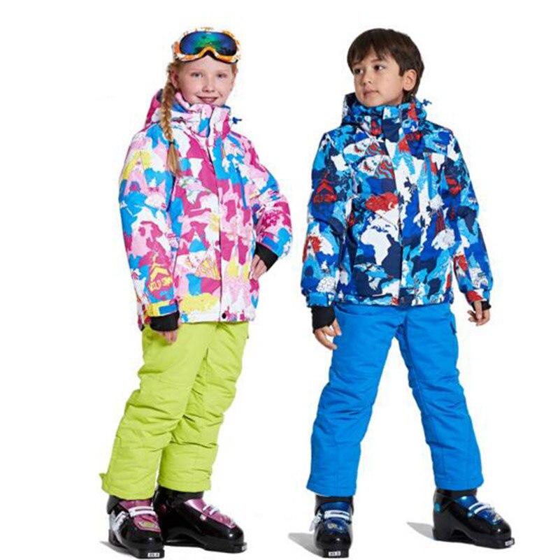 Garçons filles ensembles de Ski un ensemble imperméable coupe-vent enfants veste de Ski + pantalon enfants en plein air chaud à capuche Snowboard Sports costumes