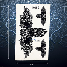 Cool Black Owl Wing Temporary Tattoo Sticker For Men Women Waterproof Body Art Arm Leg Decals Fake Wise Owl Tattoo Stickers PH59