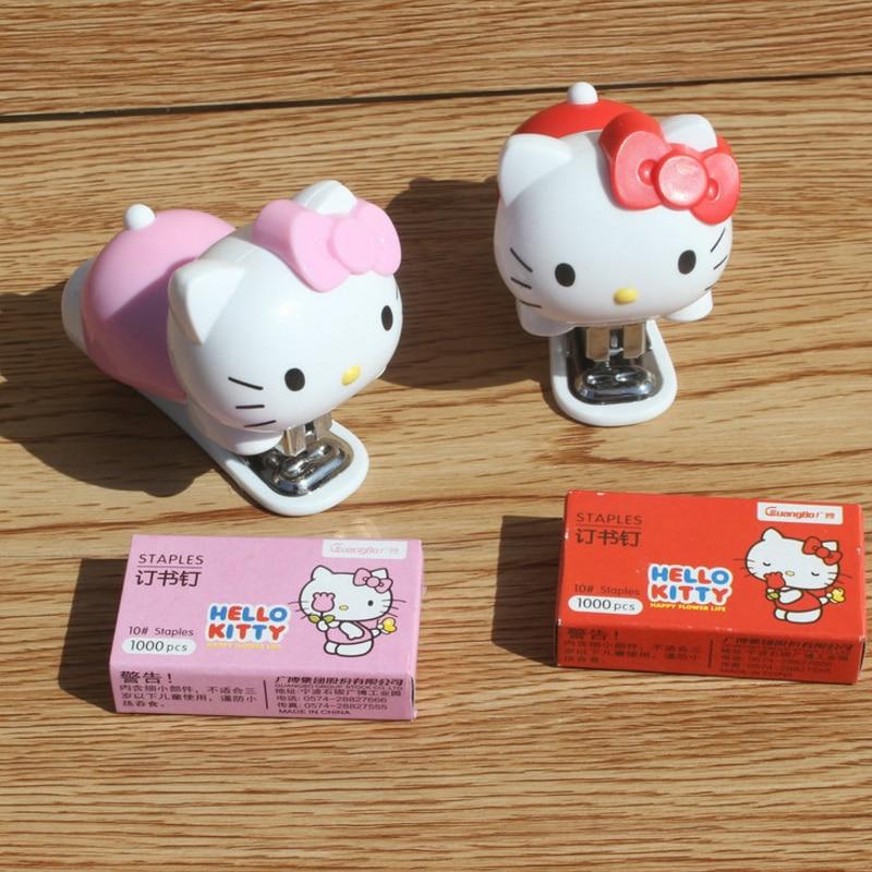1set Creative Cute Lovely Hello Kitty Mini Stapler Binding Book Paper Portable Staples manley teksta kitty mini 21738b
