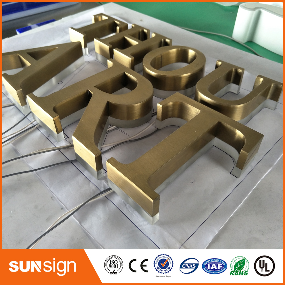 Illuminated-Channel Letters-Signs Customized Stainless-Steel 3D for Advertising Polished/brushed