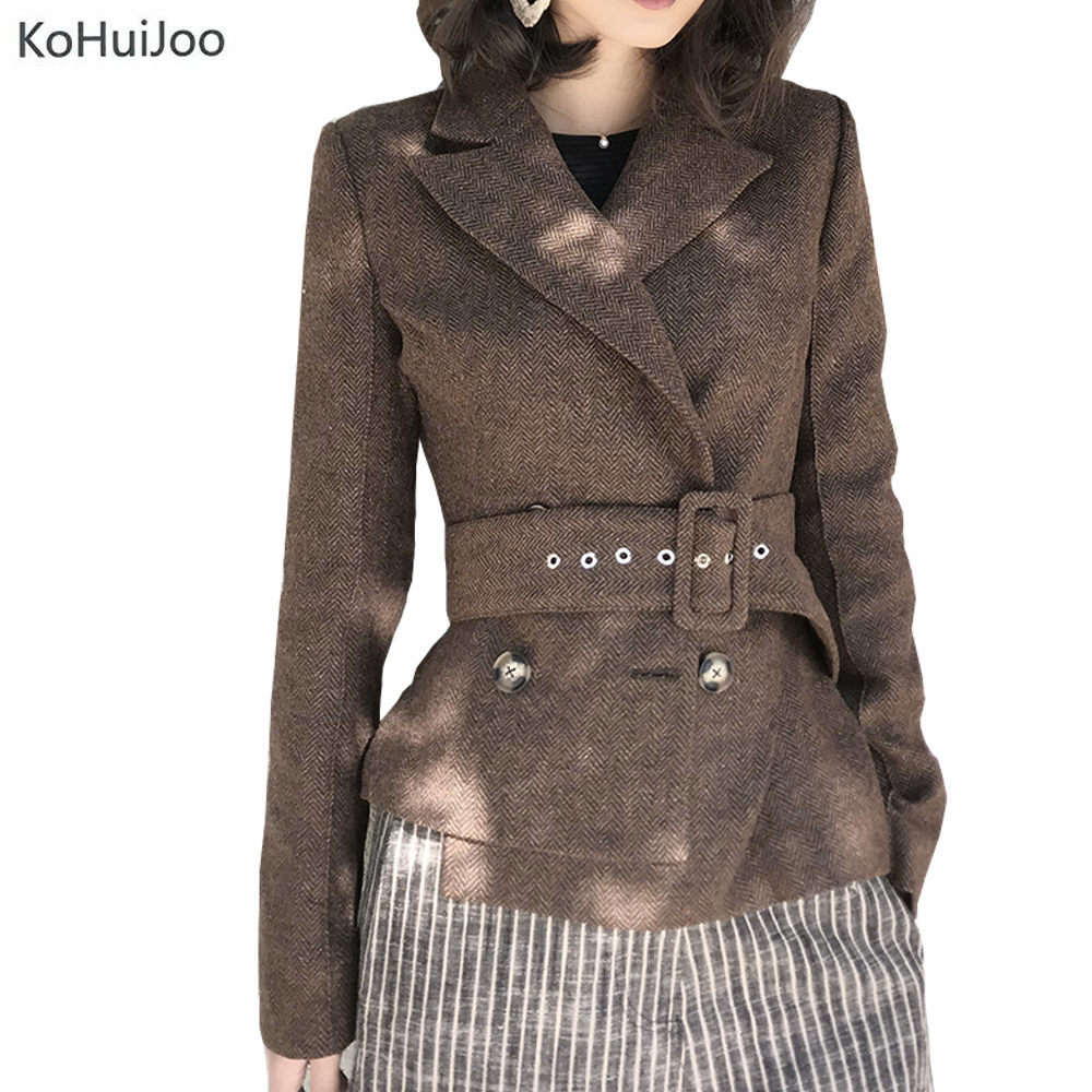 KoHuiJoo Automne Hiver Court Laine Manteau Femmes Slim Ceinture De Mode Dames de Bureau Élégant Cachemire Blazer Manteaux Veste Femme