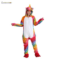 New Red Fish Unicornio Unisex Adults Winter Flannel Pajamas Animal Suit Pijama Hooded Unicorn Homewear Sleepwear