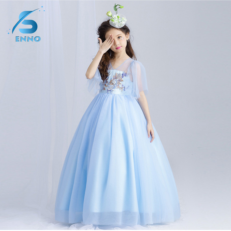 Girls Dress Embroidery Children Wedding Party Princess Dresses Kids Evening Ball Gowns Formal Baby Frocks Clothes for Girl