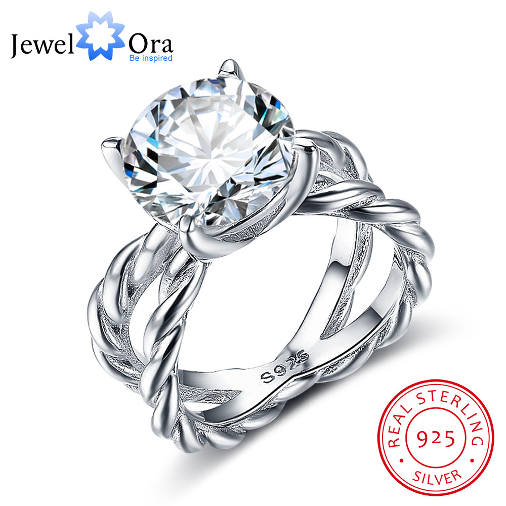 Engagement Rings 925-Sterling-Silver Rope-Shape Wedding-Gift Women CZ Jewelora 12mm