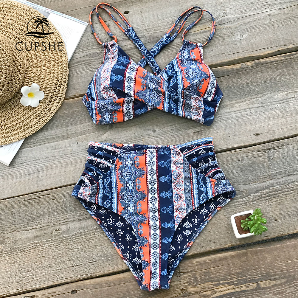 CUPSHE Boho Print Cross Front Push Up Bikini Sets Women Lace-up Strappy Two Pieces Swimsuits 2020 Girl Sexy Swimwear