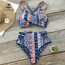 CUPSHE Boho Print Cross Front Push Up Bikini Sets Women Lace-up Strappy Two Pieces Swimsuits 2019 Girl Sexy Swimwear
