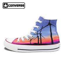Sunset Windmill Original Design Converse All Star Shoes Woman Man Hand Painted Shoes High Top Sneakers