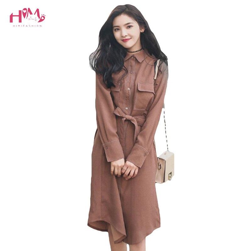Nouveau printemps robe chemise ceinturée Caramel décontracté col rabattu manches longues nœud boutons robe Style coréen pour les femmes robes longues