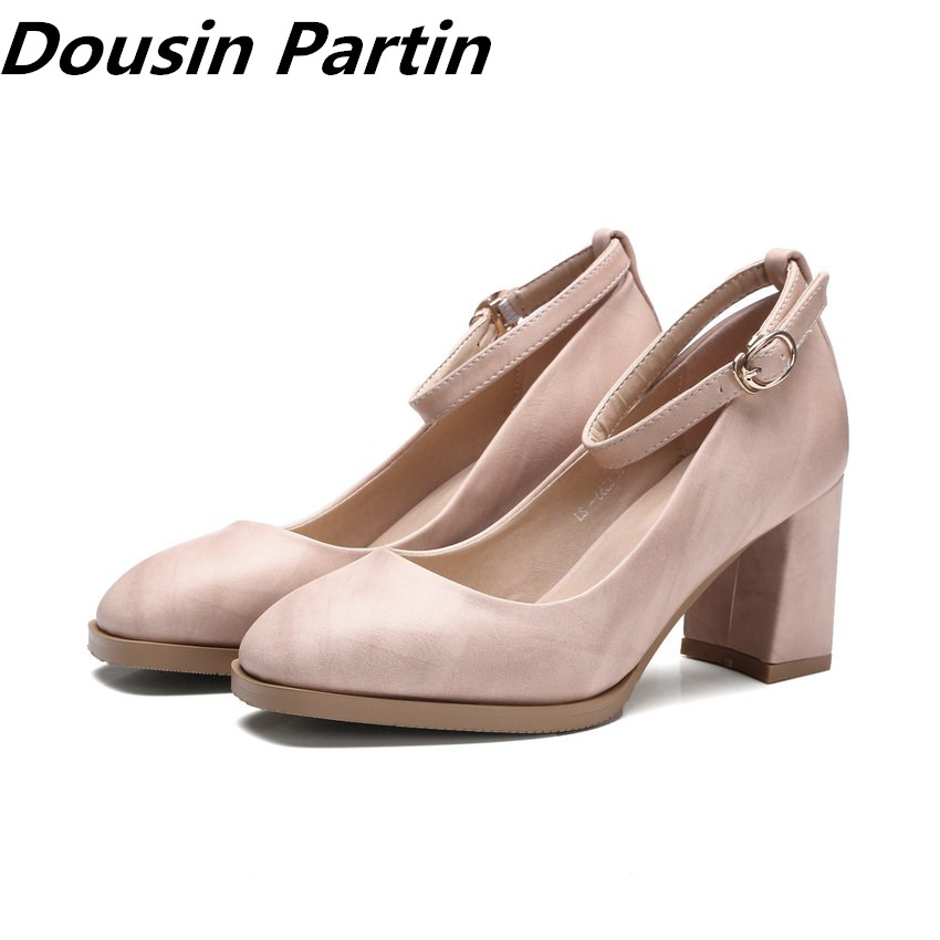 Dousin Partin New Arrival Thick Heels buckles Pointed Toe Women Pumps shoes women high heels wedding