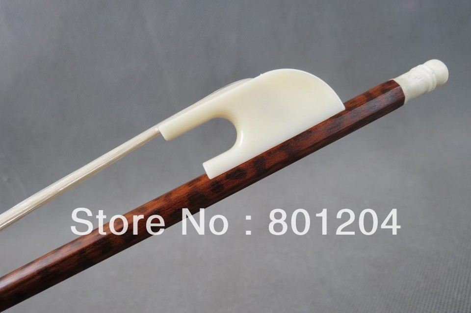 1Pc High quality Snake wood violin bow 4/4, Bone Frog  Siberia  white Horsehair violin bow 4 4 high grade brazil wood ebony frog colored shell snake skin violino bow fiddle violin parts accessories bow