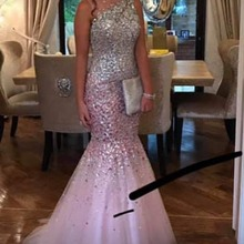 XGGandXRR Elegant Pink Mermaid Prom Dress 2019 Luxury Heavy
