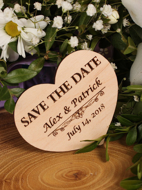 Wood Save The Date Magnet Wedding Heart Custom