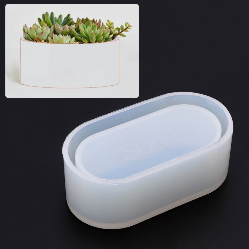 Long Ellipse Flowerpot Silicone Mould Storage Box DIY Handmade Making Crafts Crystal Epoxy Mold Epoxy Resin For Jewelry Making