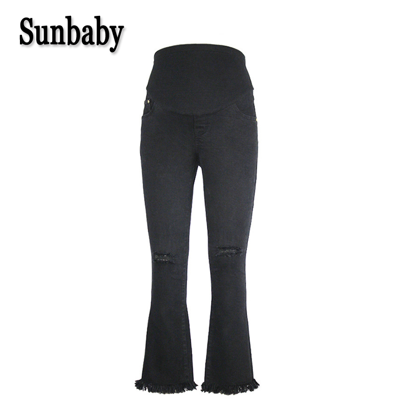 Sunbaby Street Fashion Hole Distrressed Skinny bell-bottom maternity trousers for pregnant women pregnancy casual jeans