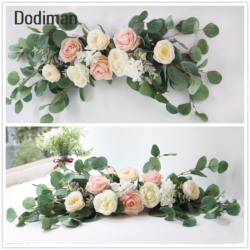 Simulation Rose Flower Garland European Lintel Wall Decorative Artificial Flowers Wreath Christmas Home Wedding Decorations
