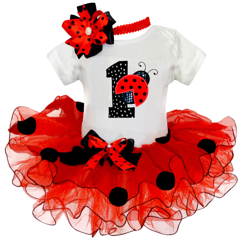 1 Year Birthday Baby Girl Outfits Cute Pattern Red /Pink Party Wear Vestido Bebes Toddler Baby Girls Clothes for 0-12 Months