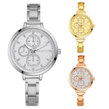 Women's Elegant Quartz Round Dial Stainless Steel Slim Strap Wrist Watch Gift