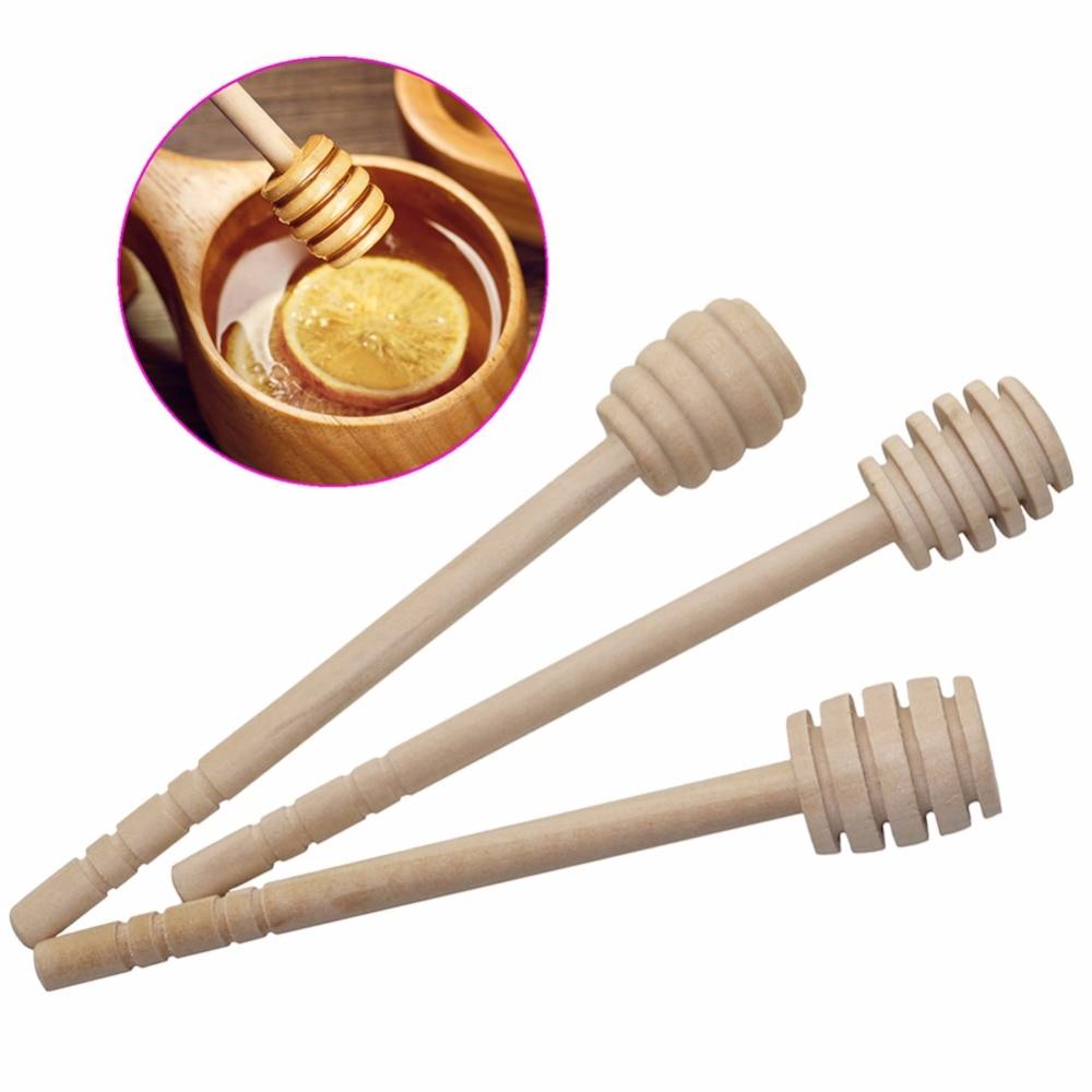 New Wooden Honey Stick Wood Honey Spoon Stir Bar for Honey Jar Supplies Long Handle Mixing Stick wood honey splash bar