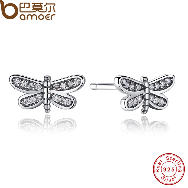 Presents 925 Sterling Silver Petite Dragonfly Stud Earrings Clear CZ Compatible with Jewelry Special Store PAS412