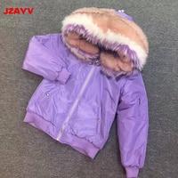 JZAYV фиолетовый парка теплый реального енота меховой воротник полета пилот Air Force куртка бомбер Для женщин 2018 зимние куртки женские пальто